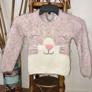Other - 🎀5/$25🎀 SOFT PINK Fuzzy Bunny Sweater Size 4